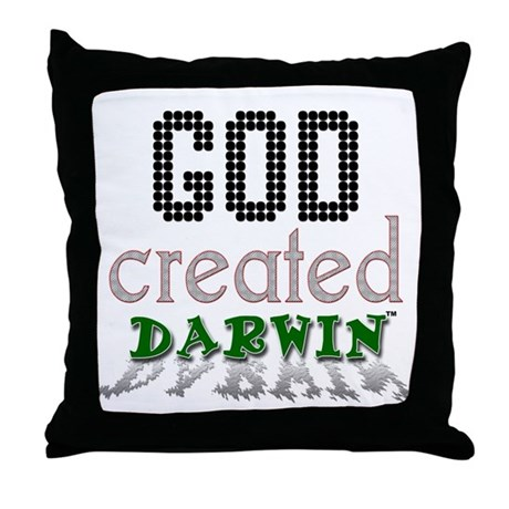 God Created Darwin Throw Pillow