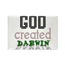 God Created Darwin Rectangle Magnet