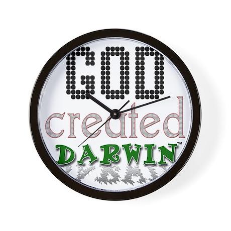 God Created Darwin Wall Clock