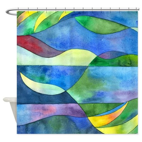 Jungle River Abstract Shower Curtain