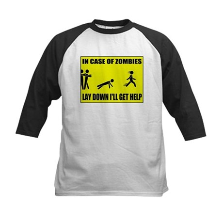 In Case of Zombies Lay Down I Kids Baseball Jersey