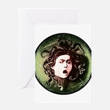 Medusa by Caravaggio on white.png Greeting Card