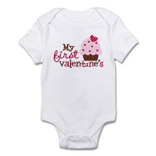 1st Valentines Day Cupcake Infant Bodysuit