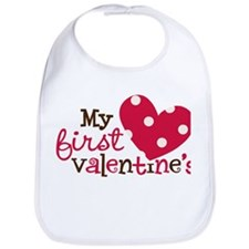 1st Valentines Day Heart Bib