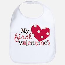 1st Valentines Day Heart Bib
