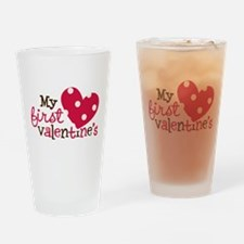 1st Valentines Day Heart Drinking Glass