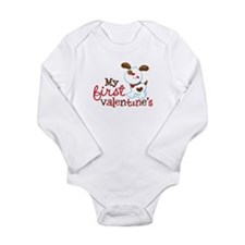 1st Valentines Day Puppy Long Sleeve Infant Bodysu
