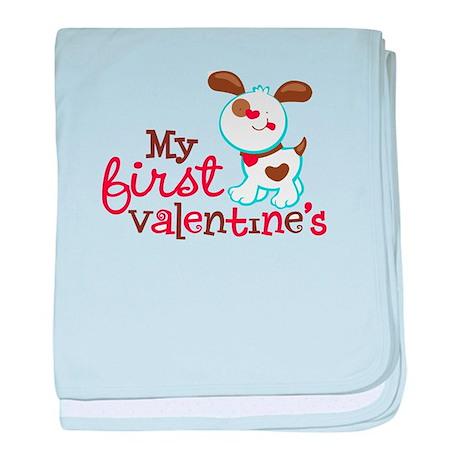 1st Valentines Day Puppy baby blanket