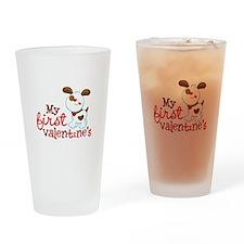 1st Valentines Day Puppy Drinking Glass