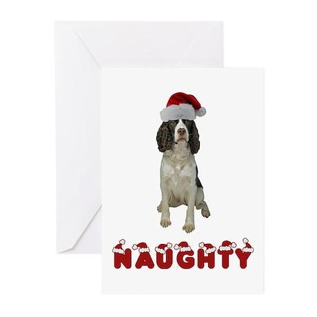 Naughty Springer Spaniel Greeting Cards (Pk of 20)