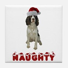 Naughty Springer Spaniel Tile Coaster