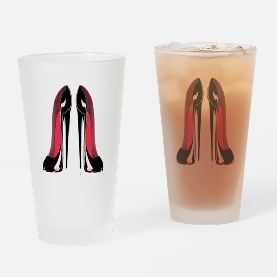 Pair Black Stiletto Shoes Drinking Glass
