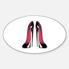 Pair Black Stiletto Shoes Sticker (Oval)