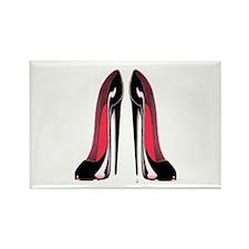 Pair Black Stiletto Shoes Rectangle Magnet (100 pa