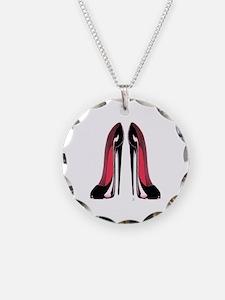 Pair Black Stiletto Shoes Necklace