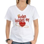 Ayden Lassoed My Heart Women's V-Neck T-Shirt
