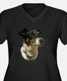 Jack Russell Dog Women's Plus Size V-Neck Dark T-S