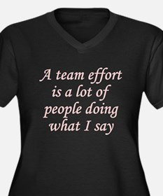 Team Effort Definition Women's Plus Size V-Neck Da