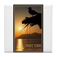 Cinque Terre Sunset Tile Coaster