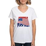 america fuck yeah Women's V-Neck T-Shirt
