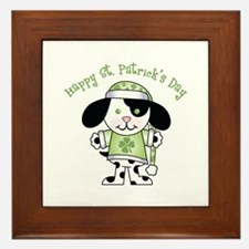 Happy St. Pats Puppy Framed Tile