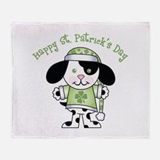 Happy St. Pats Puppy Throw Blanket