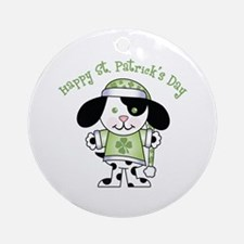 Happy St. Pats Puppy Ornament (Round)