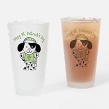 Happy St. Pats Puppy Drinking Glass