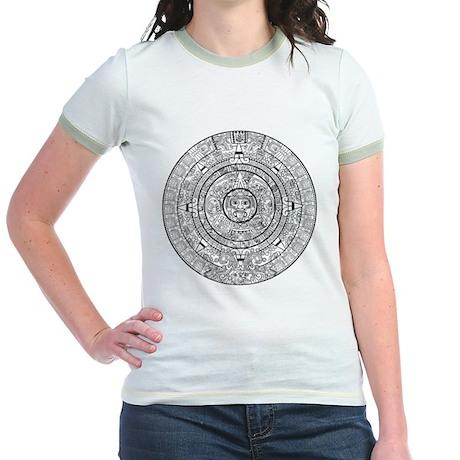 Aztec Sun Stone Calendar Jr. Ringer T-Shirt