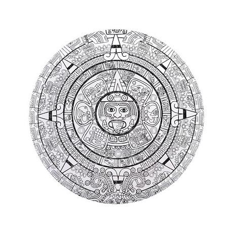 "Aztec Sun Stone Calendar 3.5"" Button"