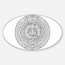 Aztec Sun Stone Calendar Sticker (Oval)