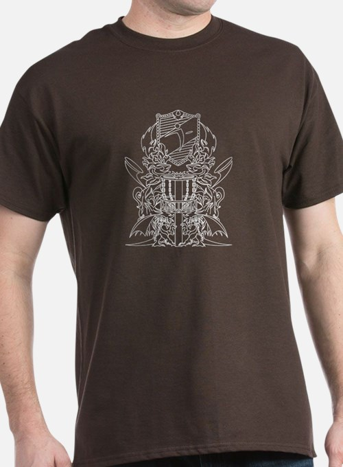 Black/White Disc Golf Coat of Arms T-Shirt