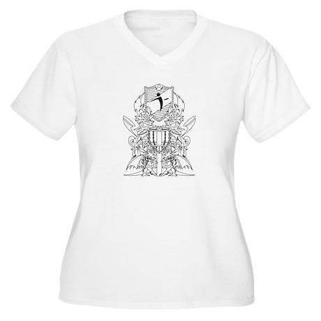 Black/White Disc Golf Coat of Arms Women's Plus Si