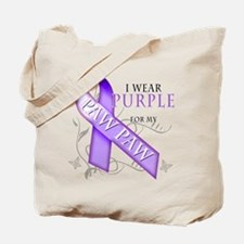 I Wear Purple for my Paw Paw Tote Bag