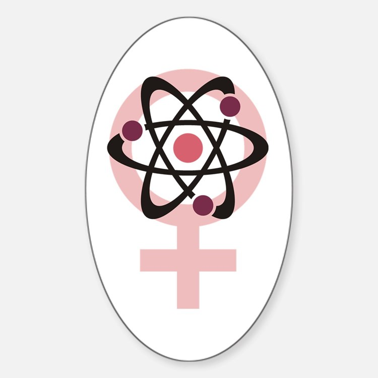 Female Scientist Sticker (Oval)