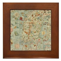 Vintage Scandanavian Map Framed Tile