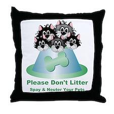 Neuter Litter Cats Throw Pillow