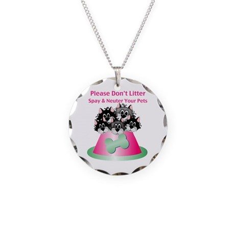 Neuter Litter Cats Necklace Circle Charm