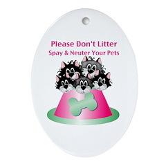 Neuter Litter Cats Ornament (Oval)