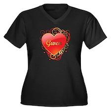 Gwen Valentines Women's Plus Size V-Neck Dark T-Sh