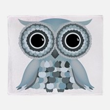 Little Blue Owl Throw Blanket