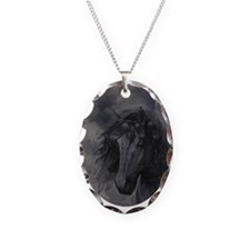 Black Horse Necklace Oval Charm