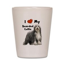 I Love My Bearded Collie Shot Glass