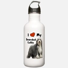 I Love My Bearded Collie Water Bottle