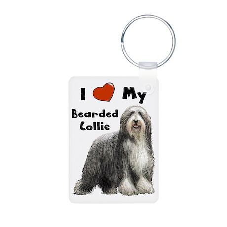 I Love My Bearded Collie Aluminum Photo Keychain