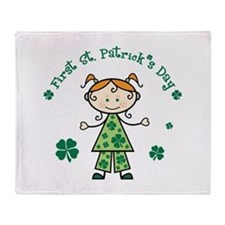 Girl 1st St Patricks Throw Blanket