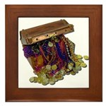 Colorful Pirate Treasure Gold Framed Tile