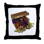 Colorful Pirate Treasure Gold Throw Pillow
