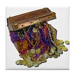Colorful Pirate Treasure Gold Tile Coaster
