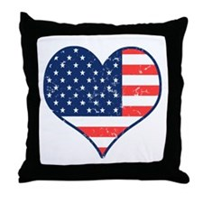 Patriotic Heart with Flag Throw Pillow